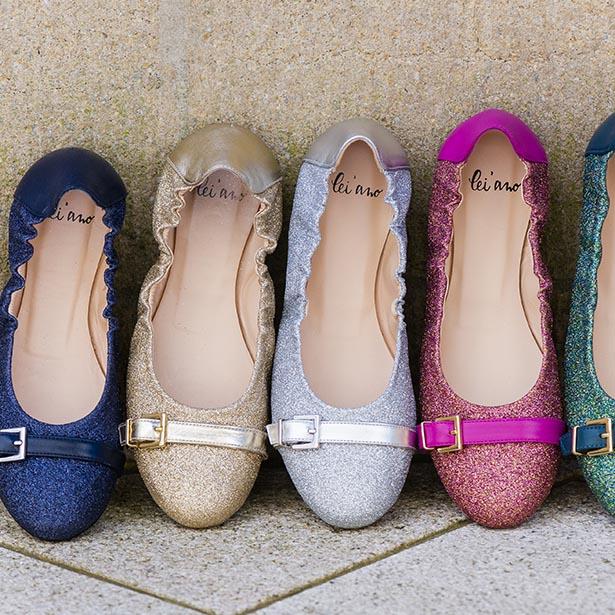 lei'ano damenschuhe glitzer ballerina flat ballet shoes